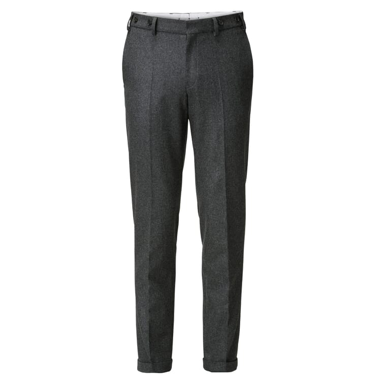 Men's Flannel Trousers by Hiltl, Mottled Anthracite