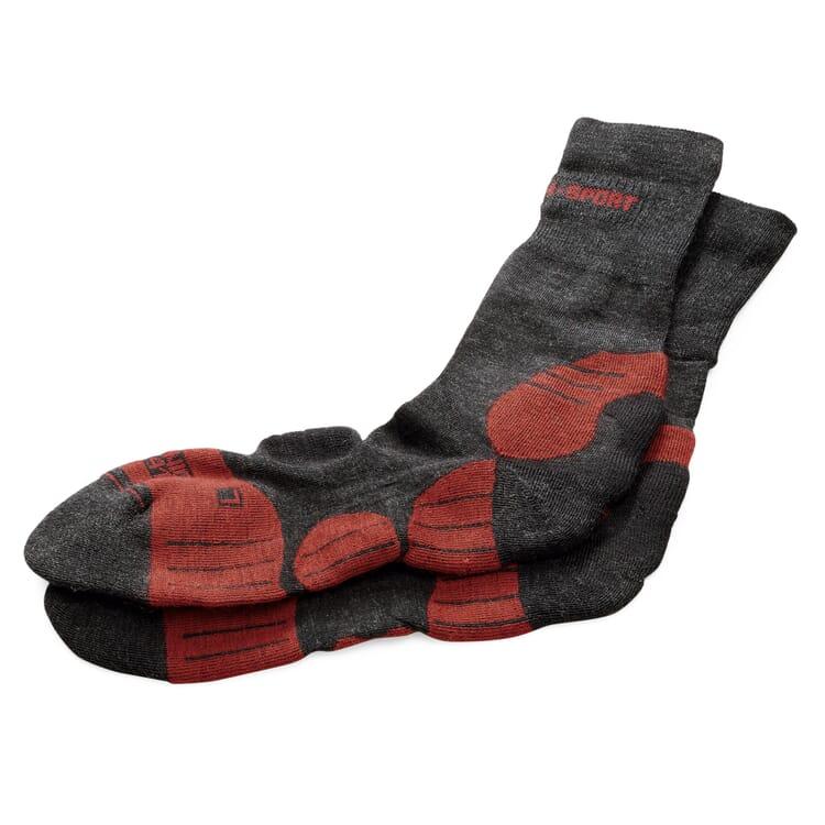 Sports Socks Made of Merino Wool, Anthracite-Red