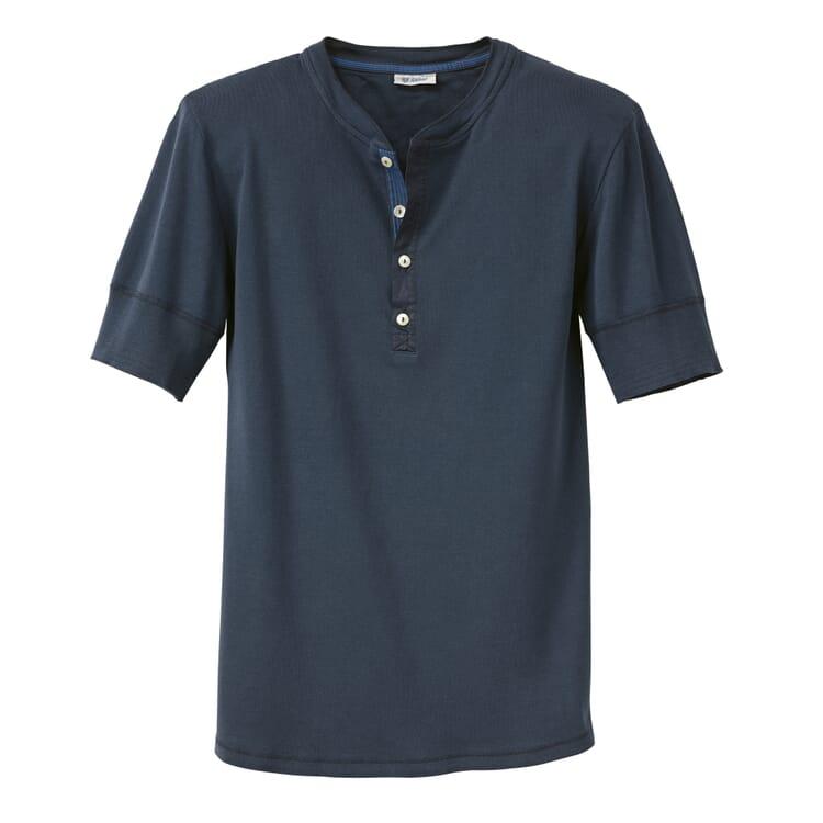 Men's Short-Sleeved Fine Rib Undershirt by Schiesser, Dark blue