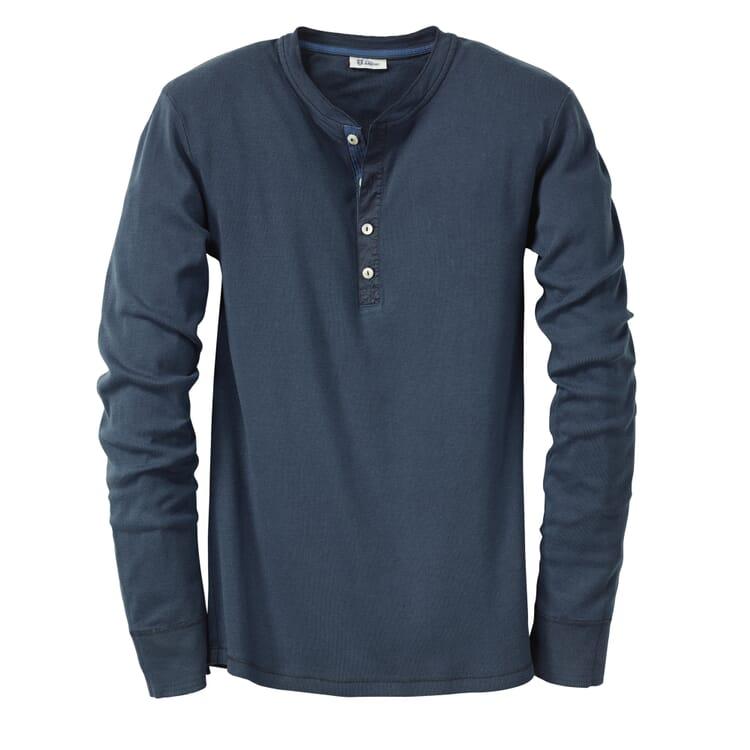 Men's Long-Sleeved Fine Rib Undershirt by Schiesser, Dark blue