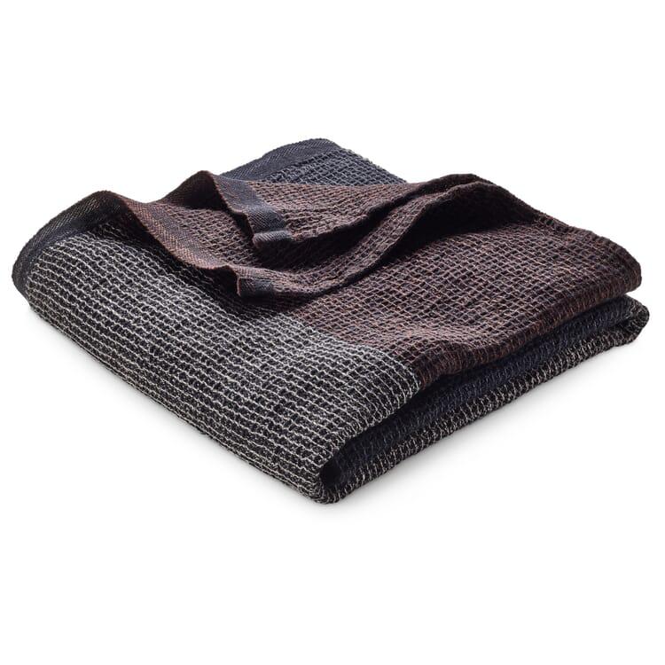 Handtuch Waffelpiqué Lyocell Leinen, Anthrazit-Braun