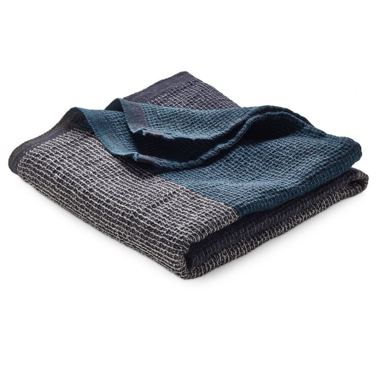 Waffle Piqué Towel Lyocell Linen Anthracite-Teal Hand Towel