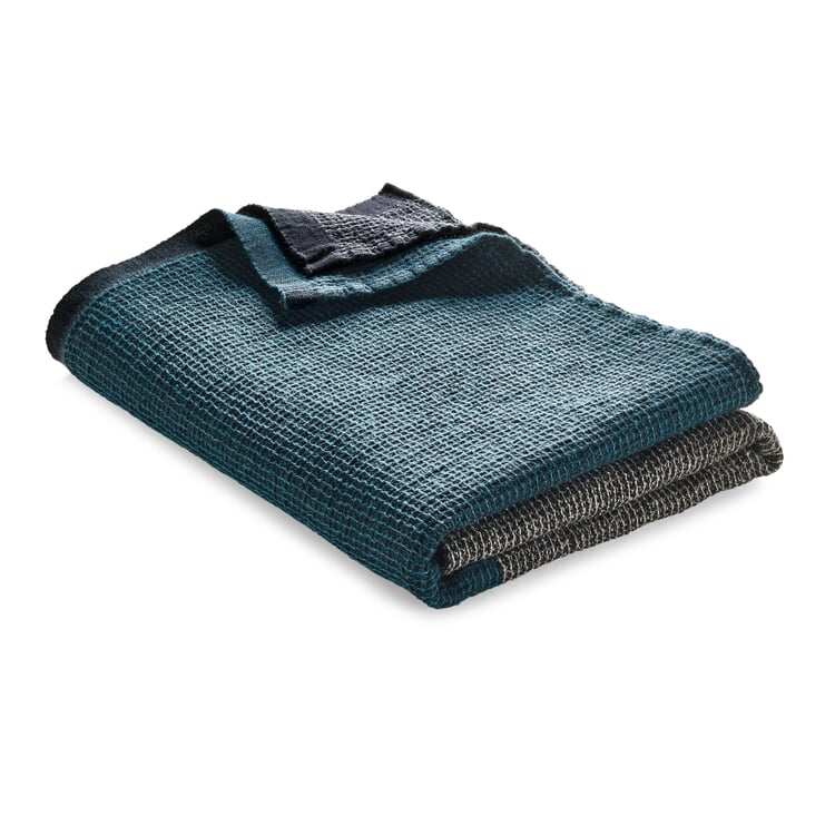 Waffle Piqué Towel Lyocell Linen Anthracite-Teal Shower Towel