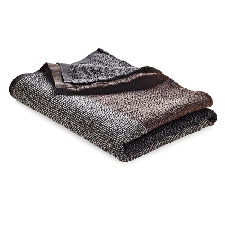 Waffle Piqué Towel Lyocell Linen Anthracite-Brown Sauna Towel