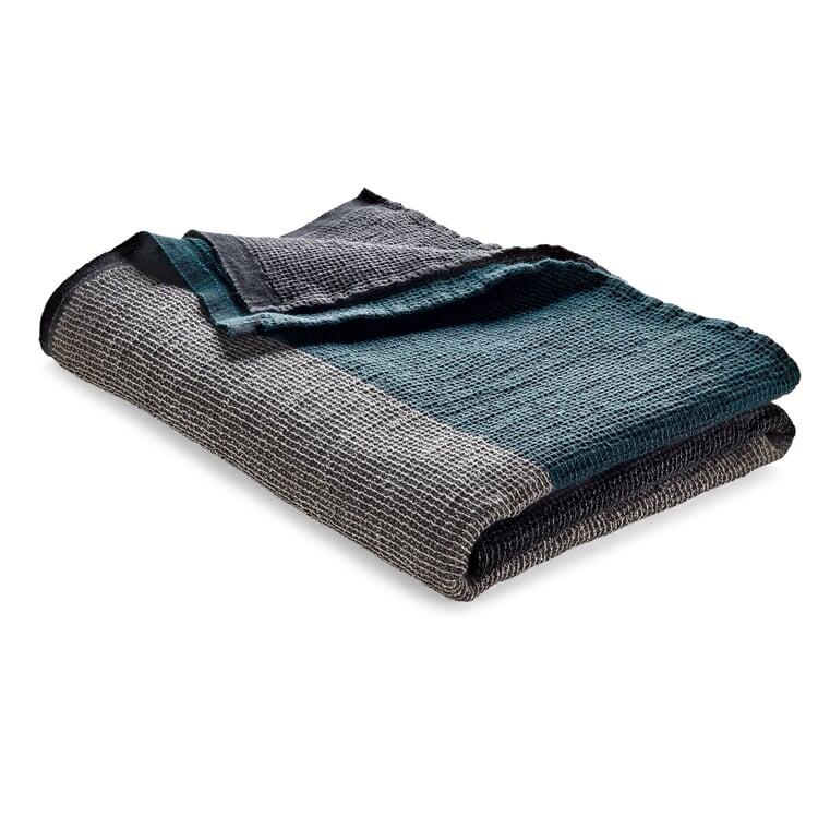 Waffle Piqué Towel Lyocell Linen Anthracite-Teal Sauna Towel