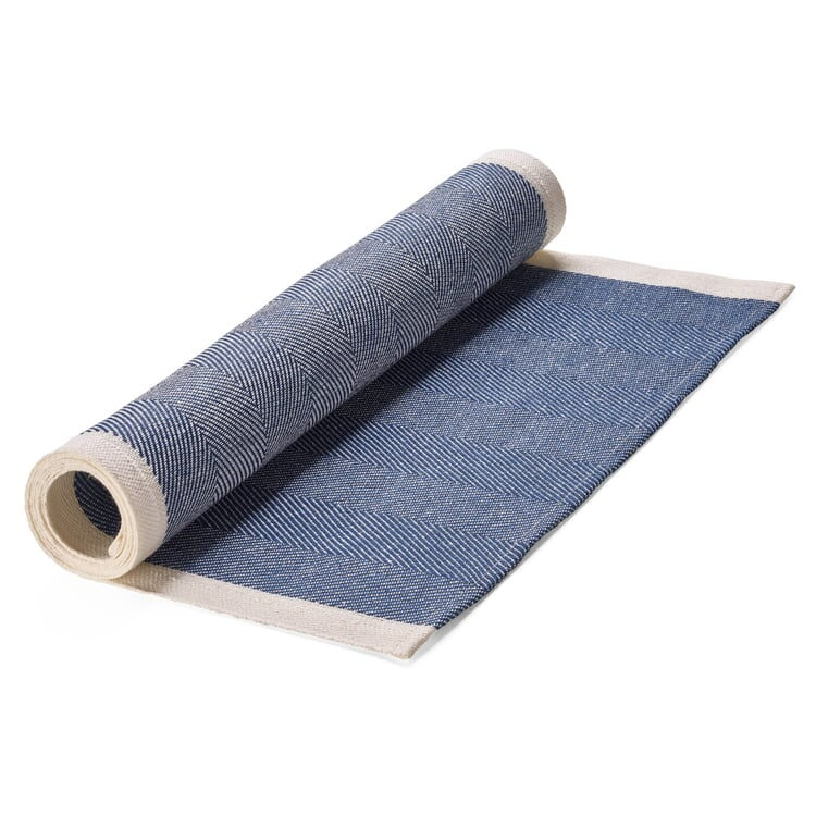 Finnischer Tischläufer Leinen Blau