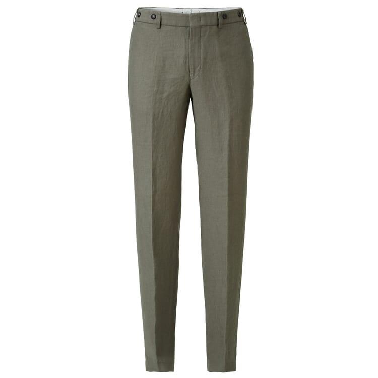 Men's Linen Trousers by Hiltl, Olive