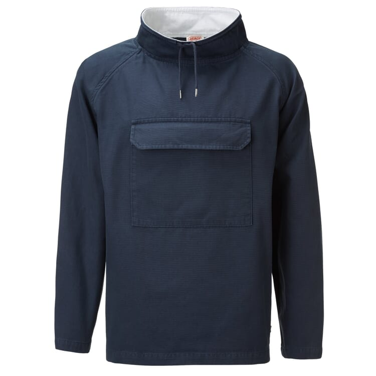 Unisex Anorak with Stand-Up Collar by Armor Lux, Dark Blue