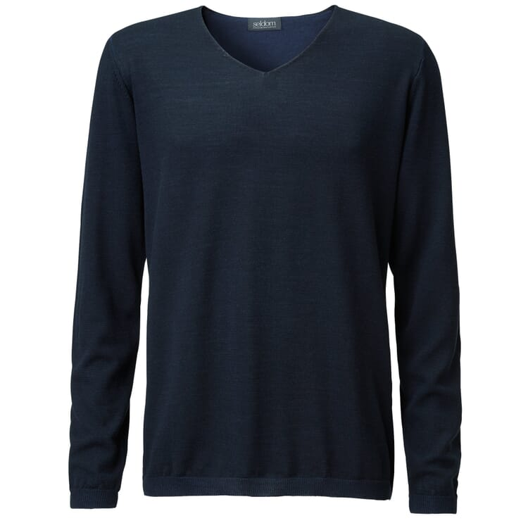 Seldom Men's Sweater V-Neck, Marine