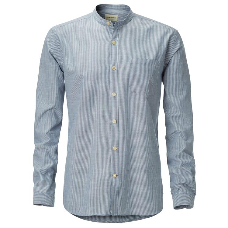 Oliver Spencer Stehkragenhemd, Blau-Natur
