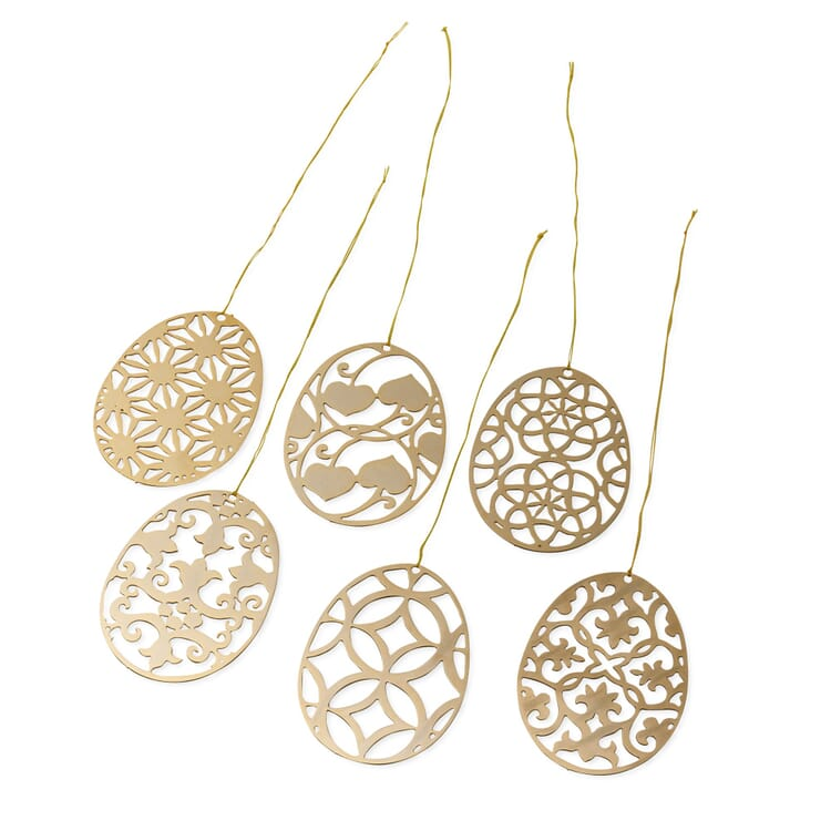Set of Pendants Made of Gold-Plated Brass, Floral Motifs