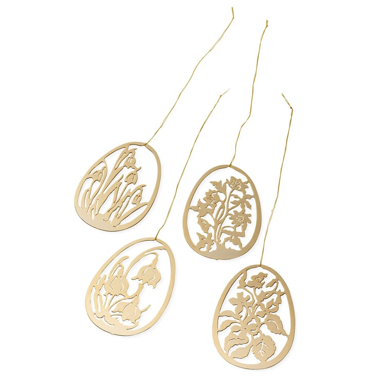 Set of Pendants Made of Gold-Plated Brass, Flowers