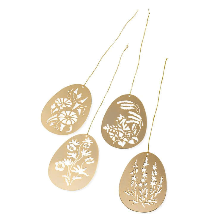 Set of Pendants Made of Gold-Plated Brass, Blossoms
