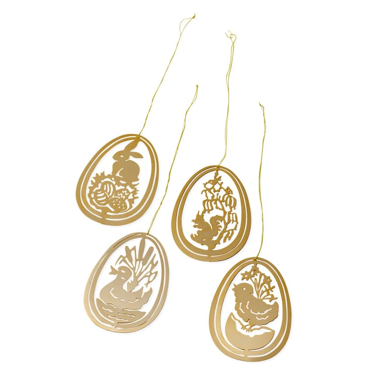 Set of Pendants Made of Gold-Plated Brass, Easter Motifs