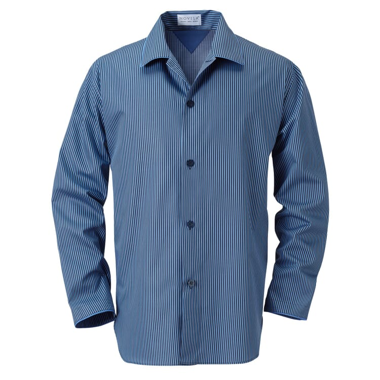 Novila Herren-Pyjama Popeline, Blau