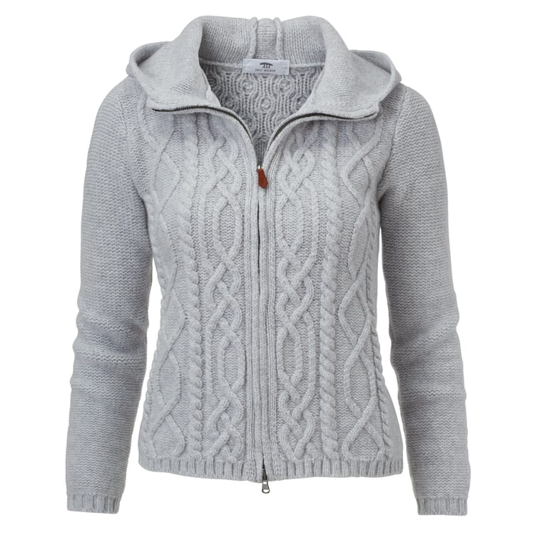 Women's Cable-Knit Cardigan with Zip and Hood by Inis Meáin, Grey