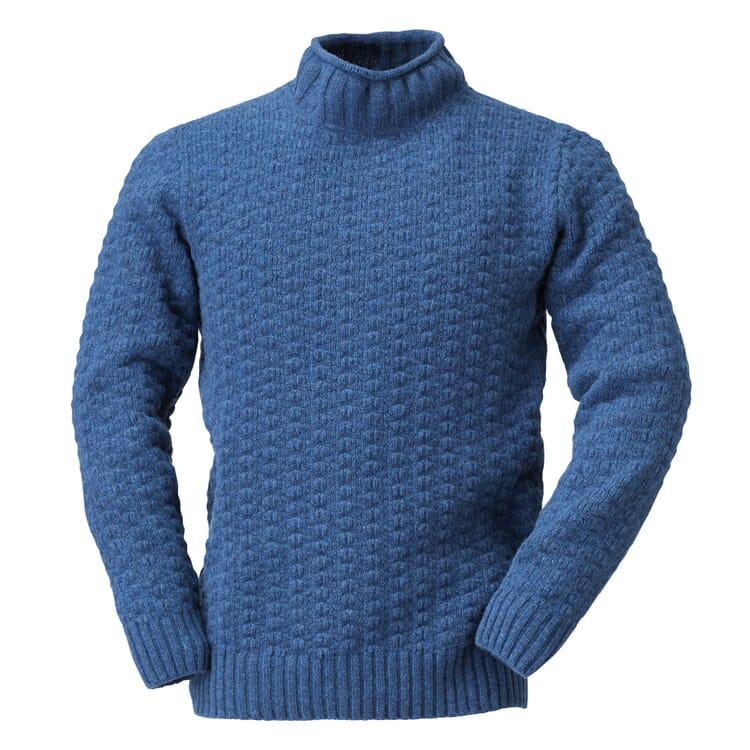Inis Meáin Herren-Merinopullover, Blau