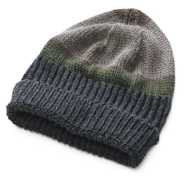 Inis Meáin Men's Striped Knitted Cap Alpaca and Silk