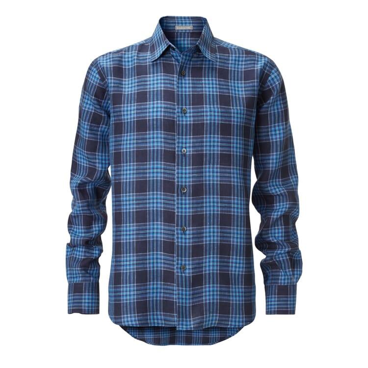 Manufactum Herrenhemd Leinen, Blau kariert