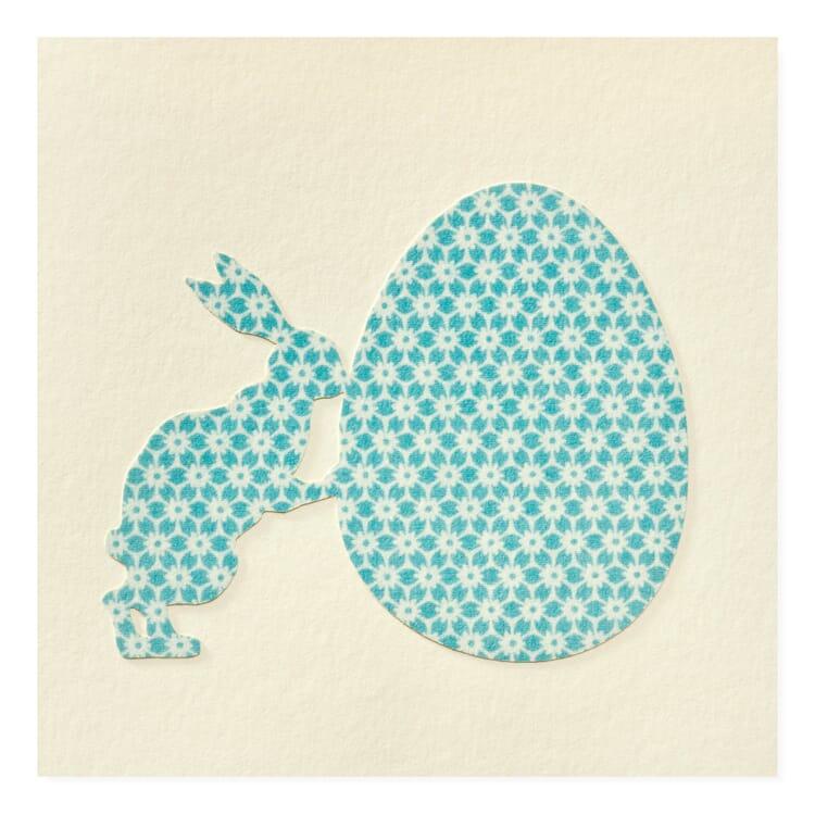Grußkarte Scherenschnitt, Hase und Ei