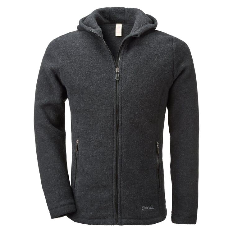 Men's Sports Jacket Made of Merino Fleece by Engel, Black melange