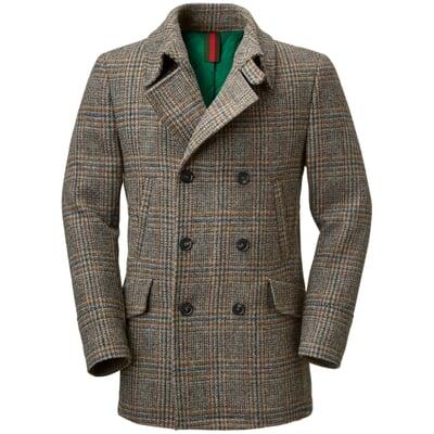 Men S Pea Coat Made Of Harris Tweed By, Mens Brown Pea Coats
