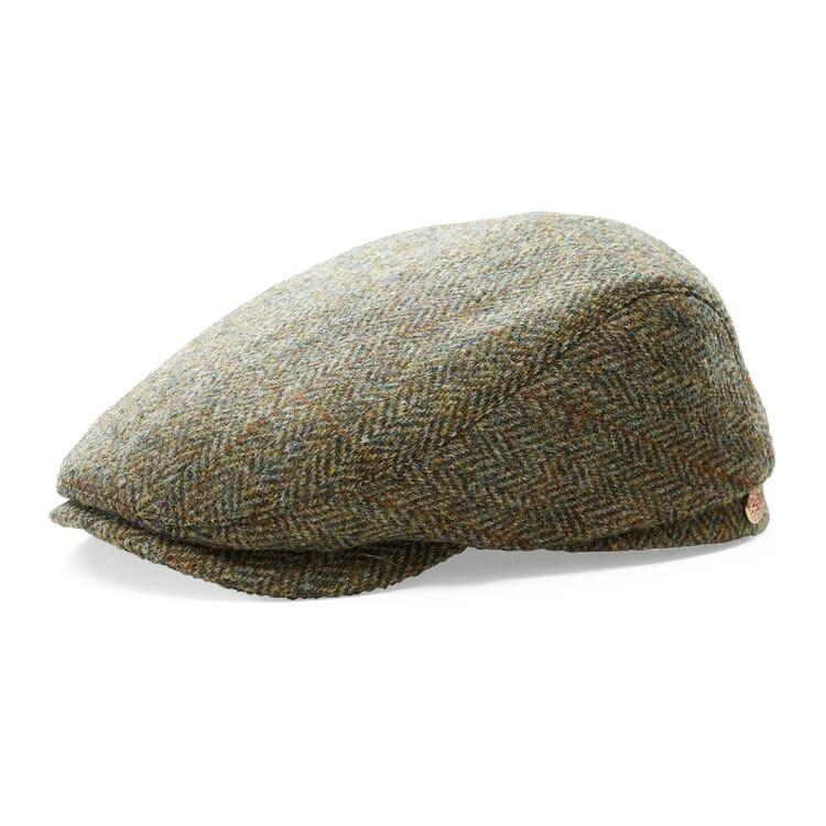 Men's Flat Cap Made of Harris Tweed by Mayser, Brown Hues
