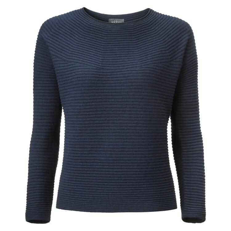 Women's Sweater Prolongated Garter Stitch by Seldom, Navy Blue