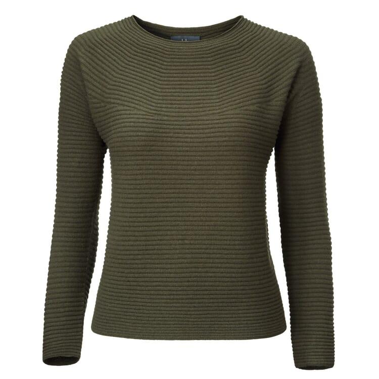 Women's Sweater Prolongated Garter Stitch by Seldom, Olive