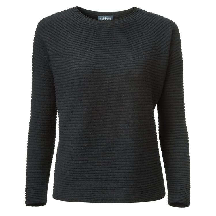 Women's Sweater Prolongated Garter Stitch by Seldom, Black