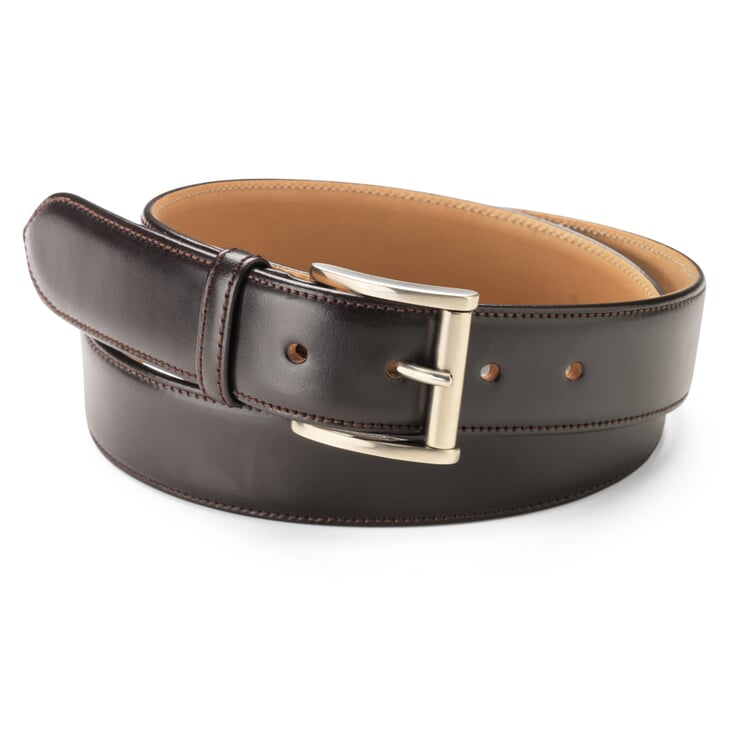 Kreis Three-Layer Cowhide Belt Dark Brown