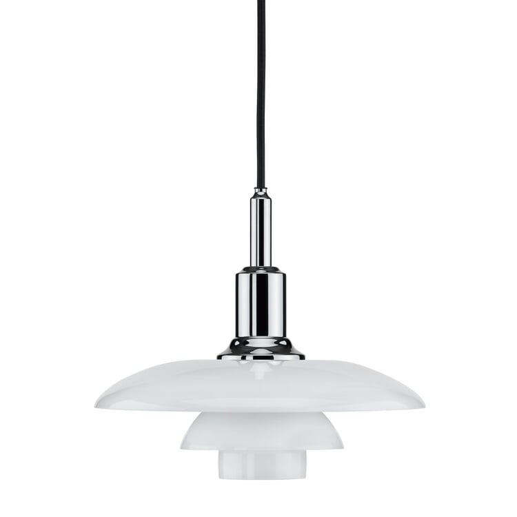 Pendant Lamp Opaline Glass PH 3/2 by Louis Poulsen Chrome-Plated