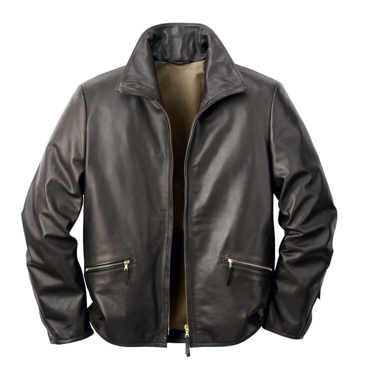 Men?s Horsehide Roadster Jacket, Black-Brown