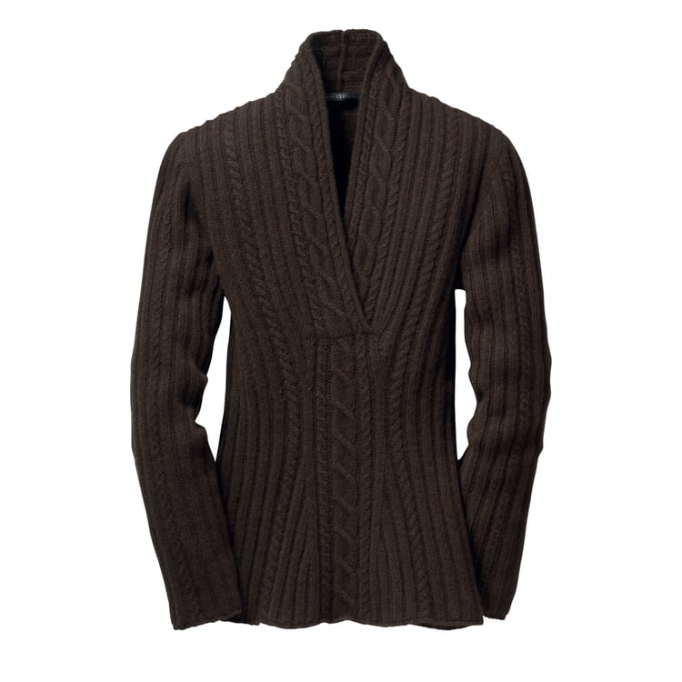 Cable Knit Women's Yak Wool Sweater Dark Brown