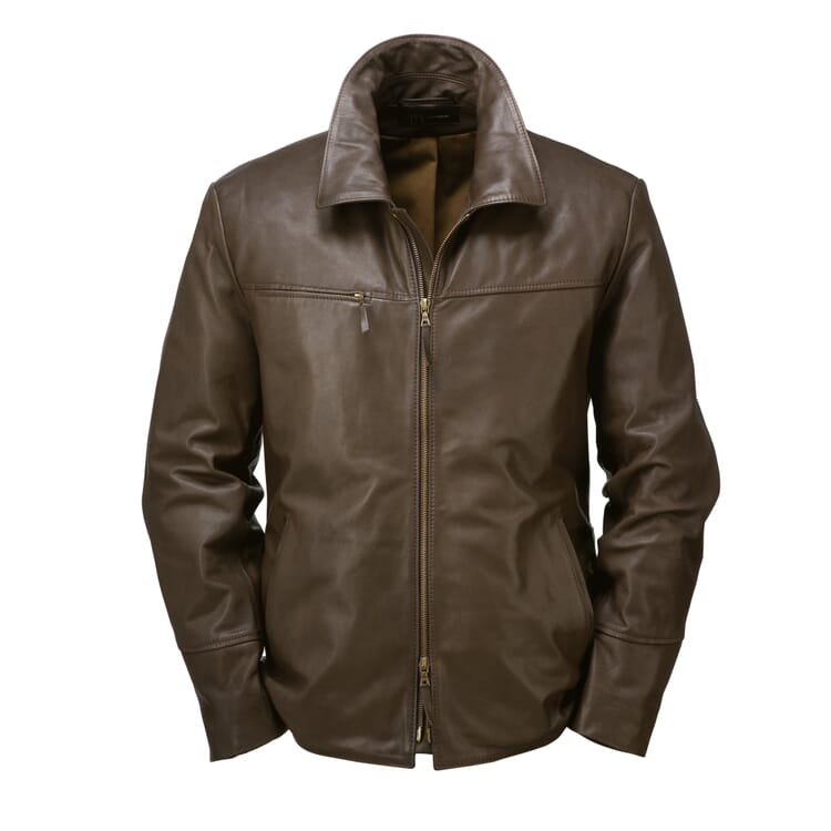 Men?s Hack Cowhide Jacket, Dark Brown