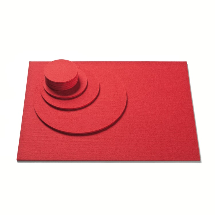 Felt Mat Ø 9 cm Red