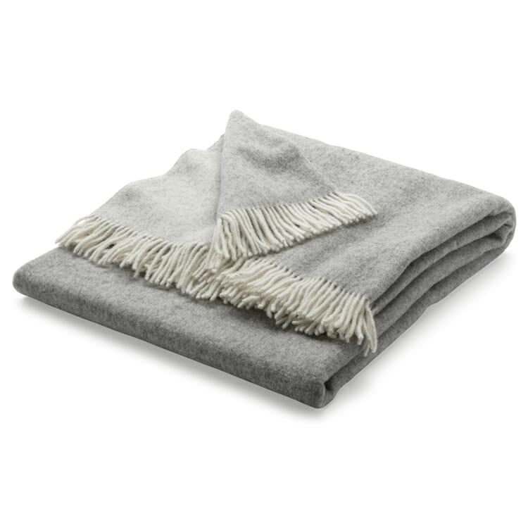 Virgin Merino Wool Blanket, White/Gray
