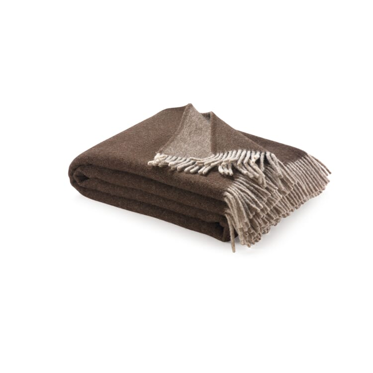 Virgin Merino Wool Blanket, Beige/Brown