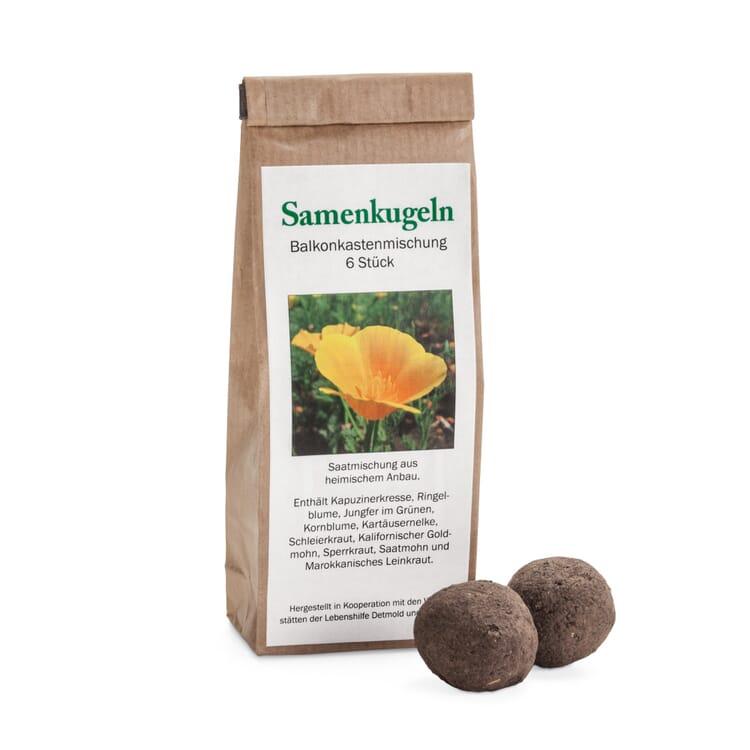 Blumensamen 'Samenkugeln Balkonkastenmischung' (6 Kugeln in einer Papiertüte)