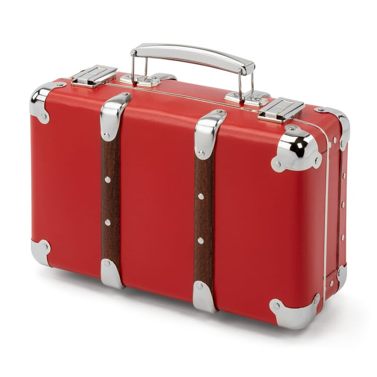 Red Cardboard Suitcase with Wooden Slats, Width 30 cm