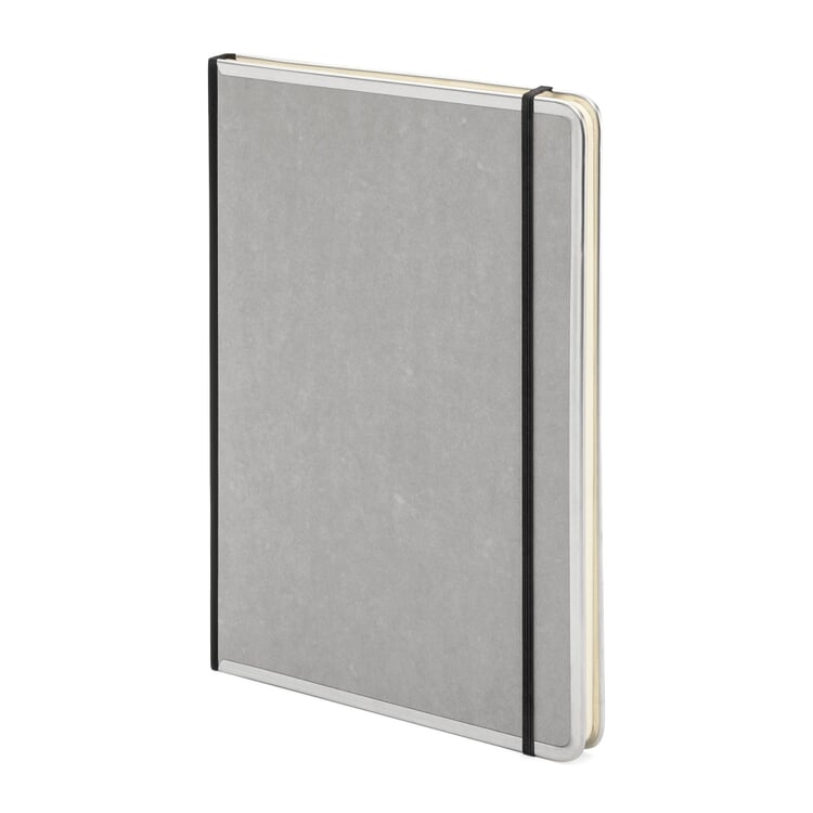 Notizbuch Metallkante A4 Blanko Grau