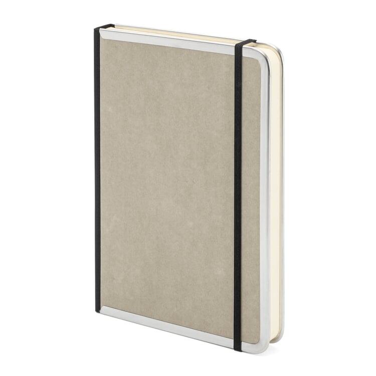Notizbuch Metallkante A5 Liniert Grau