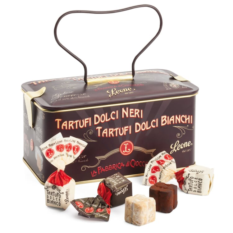 Mixed Truffle Chocolates by Leone, 150 g Tin Can