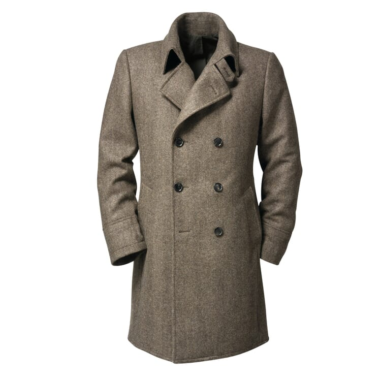 Alpago Herringbone Men?s Coat, Brown Beige Melange