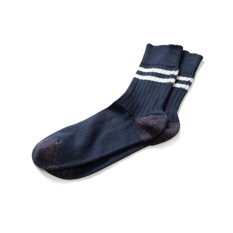 Men's Socks by Merz b. Schwanen, Navy Blue-Ecru