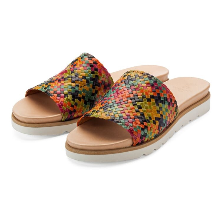 Women's Leather Weave Mules by Werner, Multicolour