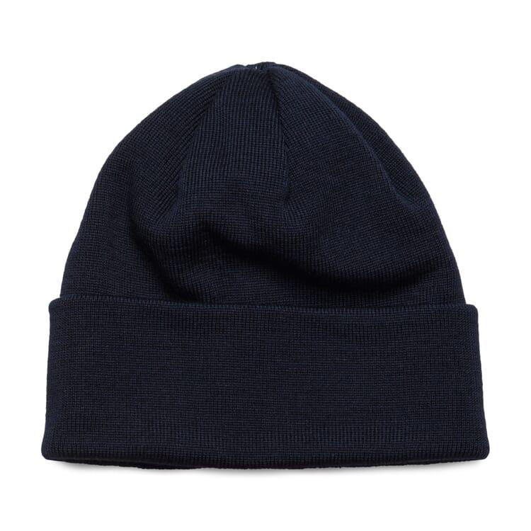 """Fine-Ribbed Knit Hat """"Baret"""", Navy Blue"""