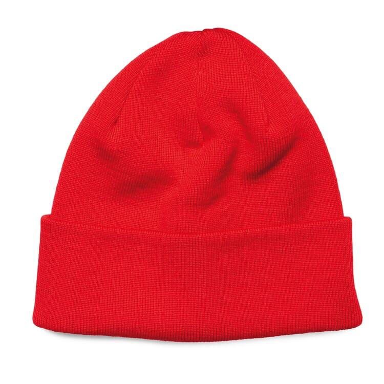 """Fine-Ribbed Knit Hat """"Baret"""", Red"""