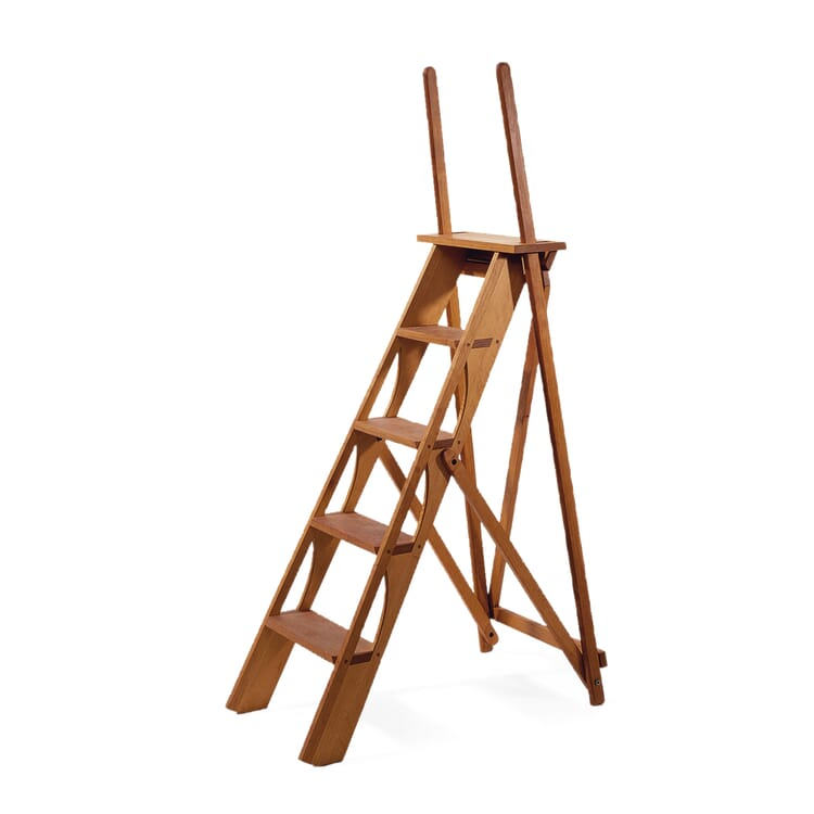 Library ladder with handle, Cherry