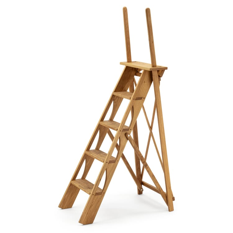 Library ladder with handle, Oak